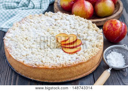 Homemade plum shortbread pie with streusel on wooden table horizontal
