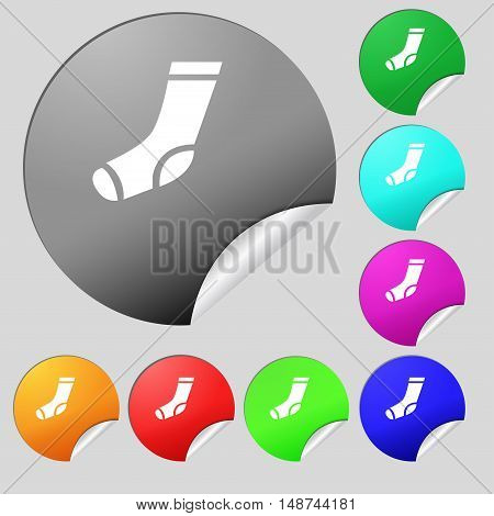 Socks Icon Sign. Set Of Eight Multi Colored Round Buttons, Stickers. Vector
