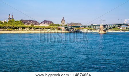 view of a Bridge on the Rhine river in Mainz Germany
