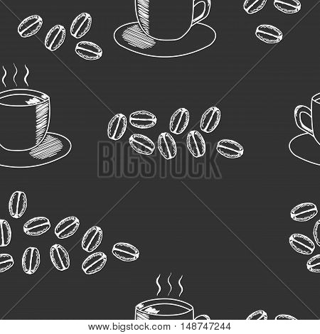 Seamless coffee pattern with coffee cup and coffee beans. Hand drawn illustration in sketch style on black background.