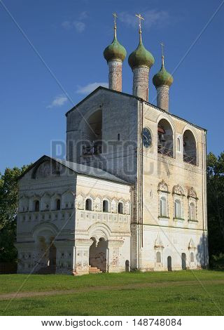 The bell tower of the ancient Boris and Gleb monastery closeup. Yaroslavl region