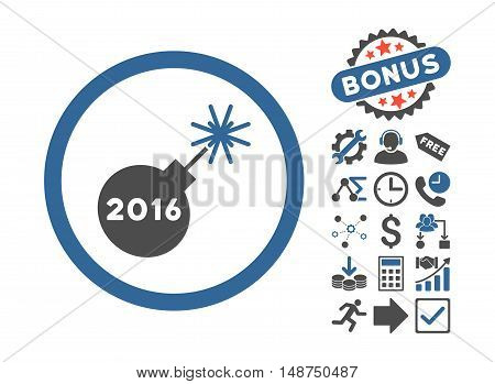 2016 Petard pictograph with bonus icon set. Glyph illustration style is flat iconic bicolor symbols, cobalt and gray colors, white background.