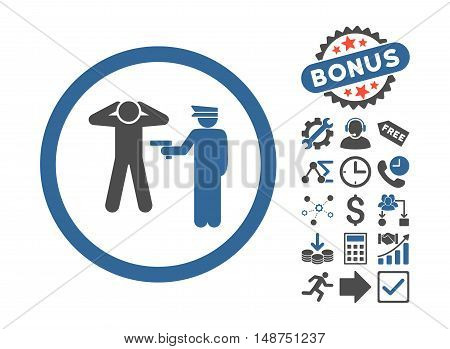 Arrest icon with bonus symbols. Glyph illustration style is flat iconic bicolor symbols, cobalt and gray colors, white background.