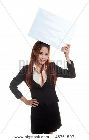 Young Asian Business Woman With  White Blank Sign.