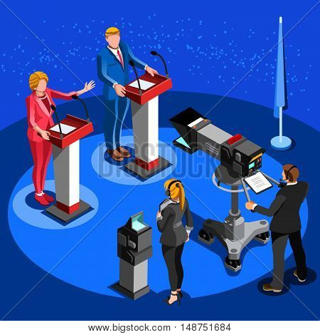 Speaker delegate tv communication. 3D Vector isometric people