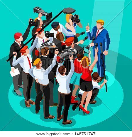 Speaker delegate journalism communication. 3D Vector isometric people