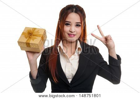 Young Asian Business Woman Show Victory Sign With A Gift Box.