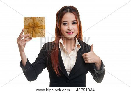 Young Asian Business Woman Thumbs Up With A Gift Box.