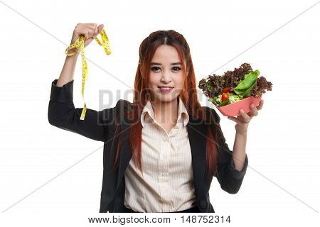 Healthy  Asian Business Woman With Measuring Tape And Salad.