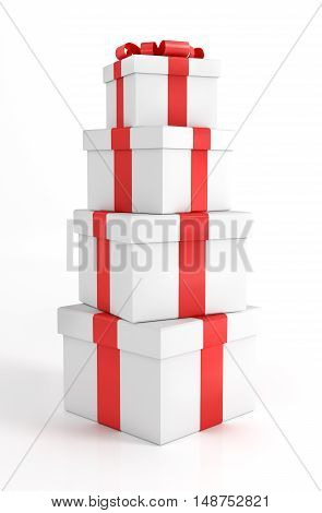 Pile of Gift Boxes Isolated on White. 3D Render Illustration