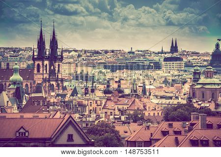 Prague Cityscape Panorama. City of Prague Czech Republic.