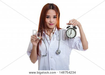 Young Asian Female Doctor Happy Show A Clock And Pills.