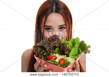 Beautiful Asian Healthy Girl With Salad.