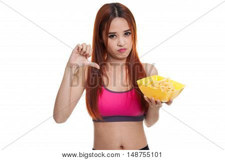 Asian Healthy Girl Thumbs Down With  French Fries.