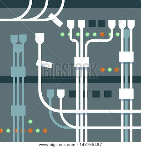Vector illustration of server rack blue background