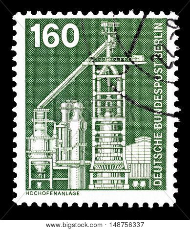BERLIN - CIRCA 1975 : Cancelled postage stamp printed by Berlin, that shows Blast furnace.