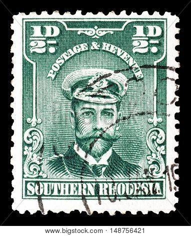 SOUTHERN RHODESIA - CIRCA 1924 : Cancelled postage stamp printed by Southern Rhodesia, that shows King George.