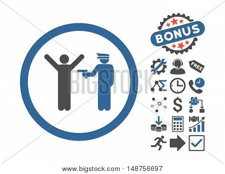 Police Arrest icon with bonus pictogram. Glyph illustration style is flat iconic bicolor symbols, cobalt and gray colors, white background.