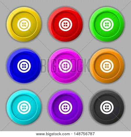 Sewing Button Sign. Symbol On Nine Round Colourful Buttons. Vector