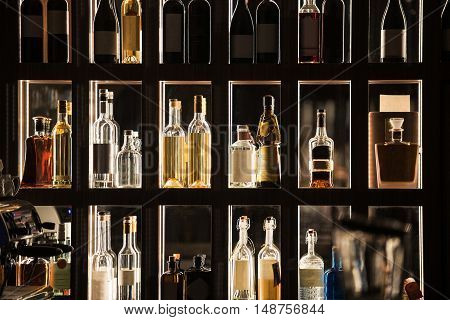 Alcohol Beverages Bar Shelf. Illuminated Liquor Shelf