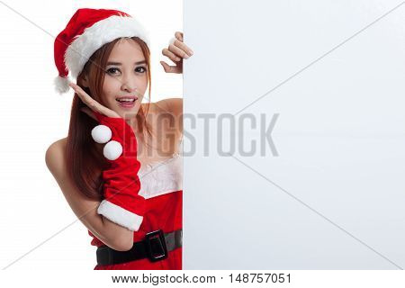 Asian Christmas Santa Claus Girl With Blank Sign.