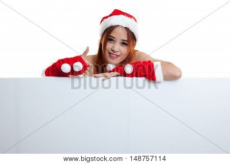 Asian Christmas Santa Claus Girl Thumbs Up With Blank Sign.