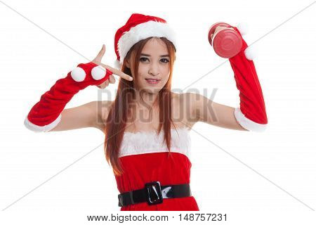 Asian Christmas Santa Claus Girl  Point To Red Dumbbell.