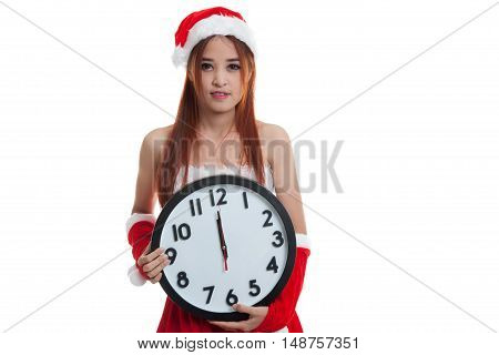Asian Christmas Santa Claus Girl And Clock At Midnight.