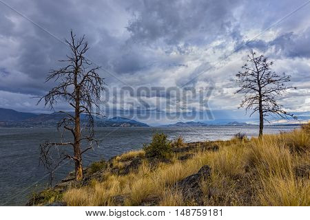 Okanagan Lake near Kelowna British Columbia Canada on a stormy day