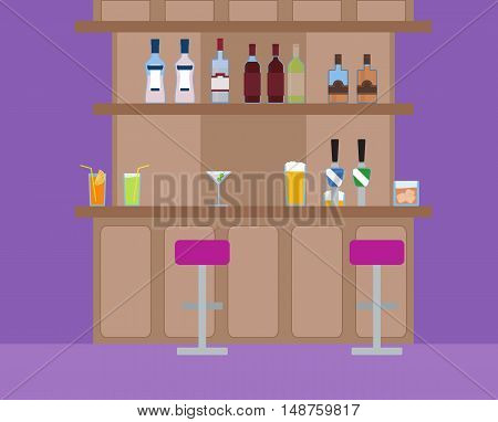 Vector illustration of alcoholic and non-alcoholic drinks on the bar. Social night life. Pink purple pub.