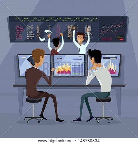 Business team work success concept. Online trading. Brokerage trading on the stock exchange vector in flat style design. Group of businessmen enjoys success deal on stock market illustration.