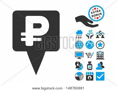 Rouble Map Pointer pictograph with bonus pictograph collection. Glyph illustration style is flat iconic bicolor symbols, blue and gray colors, white background.