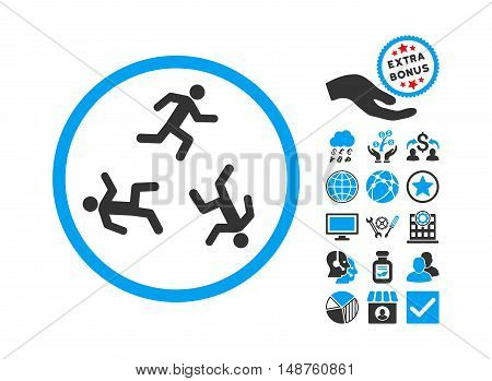 Running Men icon with bonus symbols. Glyph illustration style is flat iconic bicolor symbols, blue and gray colors, white background.
