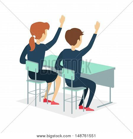 Two pupils raising hand and sitting at a school desk. Studying in classroom. Pupils in school uniform. Learning process. Schoolgirl and schoolboy personage. Vector illustration on white background