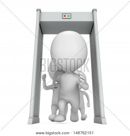 3D metal detector scanner and running people chase isolated on white background. Scanner entrance gate for prevent crime or terrorism in public place. Security concept.