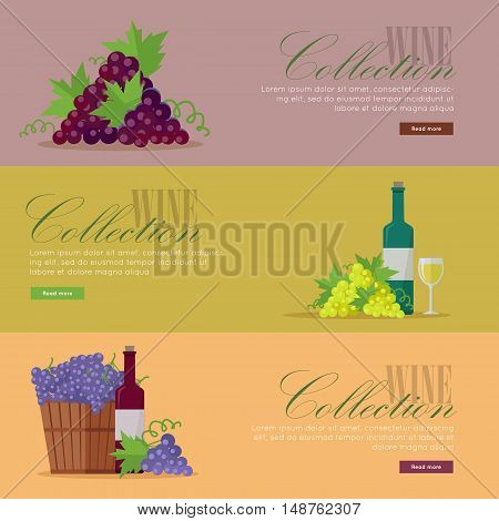 Set of fliers for elite wine collections. For labels, tags, tallies, posters, banners of check vintage wines. Logo icon symbol. Winemaking concept.