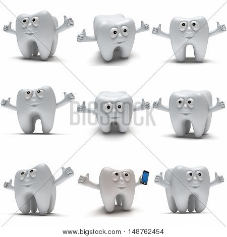 Cute healthy tooth with hands shows thumbs up isolated on white background. 3D render set. Dental medicine health like concept collection.