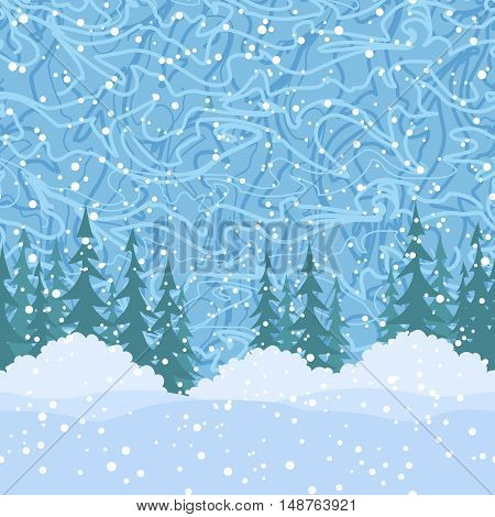 Christmas Holiday Seamless Horizontal Background, Green Fir Trees Silhouettes, Bushes and Blue Sky with White Snow and Abstract Pattern. Vector