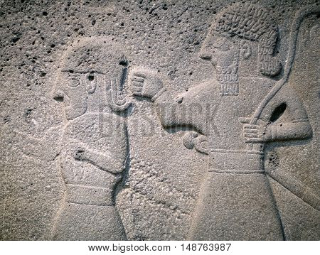 Ancient stone bas-relief of late Hittite period