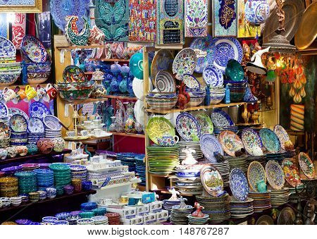 Traditional Turkish ceramics and mass product souvenier on the Grand Bazaar in Istanbul Turkey