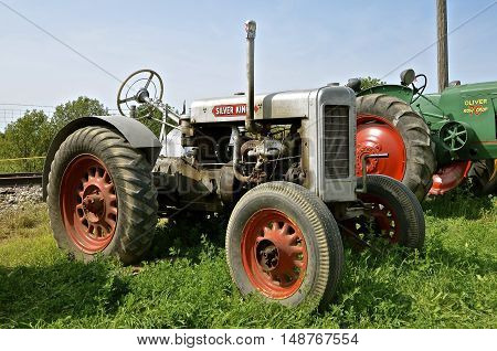 ROLLAG, MINNESOTA, Sept 1. 2016: A Silver King tractor(originally called a Plymouth) is displayed at the West Central Steam Threshers Reunion in Rollag, MN attended by 1000's held annually on Labor Day weekend.