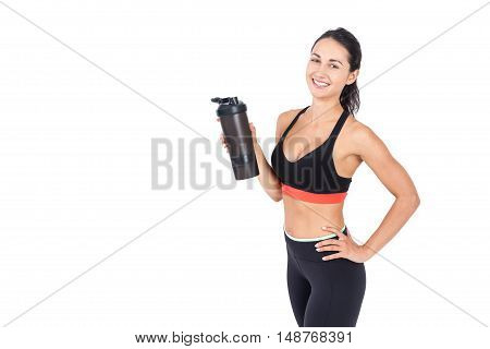 Sportswoman With Water Bottle