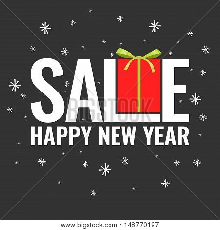 Minimalistic poster New Year sale and discounts with a gift on a black background.