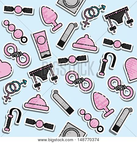 Colored sex shop pattern. Vector illustration, EPS 10