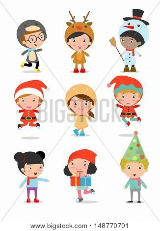 Kids With Christmas Costumes set, Vector. child With Christmas Costumes