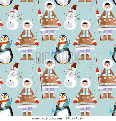 Eskimo Child and a Snowman a penguin with a fish. Seamless background pattern. Vector illustration