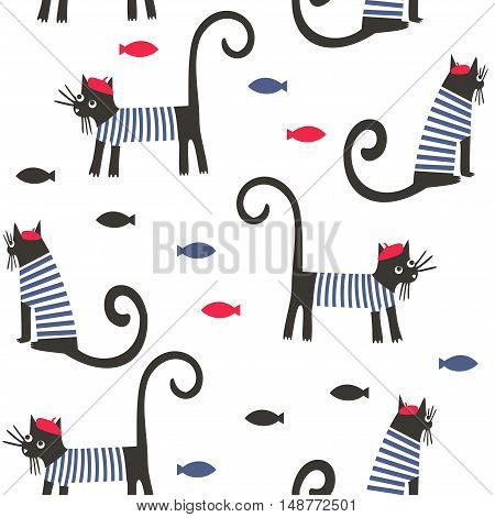 Cats and fish vector background. French style dressed cartoon animals seamless pattern. Cute design for print on baby's clothes, textile, decor.