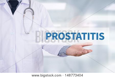 PROSTATITIS Medicine doctor hand working doctor work to touch hand