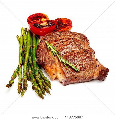 Roasted organic shin of beef meat isolated on a white background