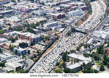 LOS ANGELES, USA - MAY 27, 2015: Aerial view of heavy traffic on Interstate 110 Santa Monica Boulevard is crossing.